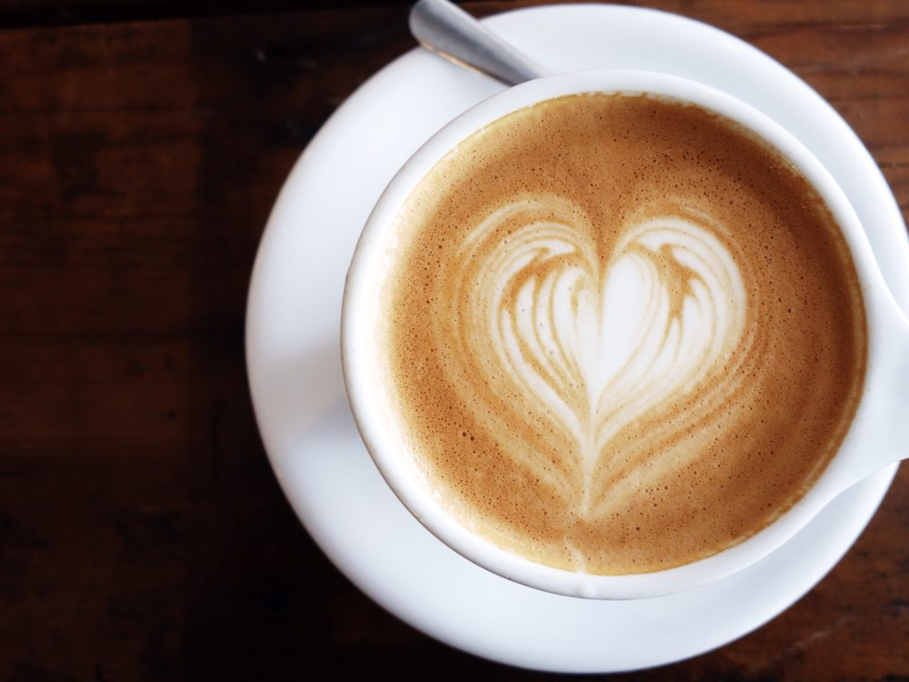 latte with heart shape design.