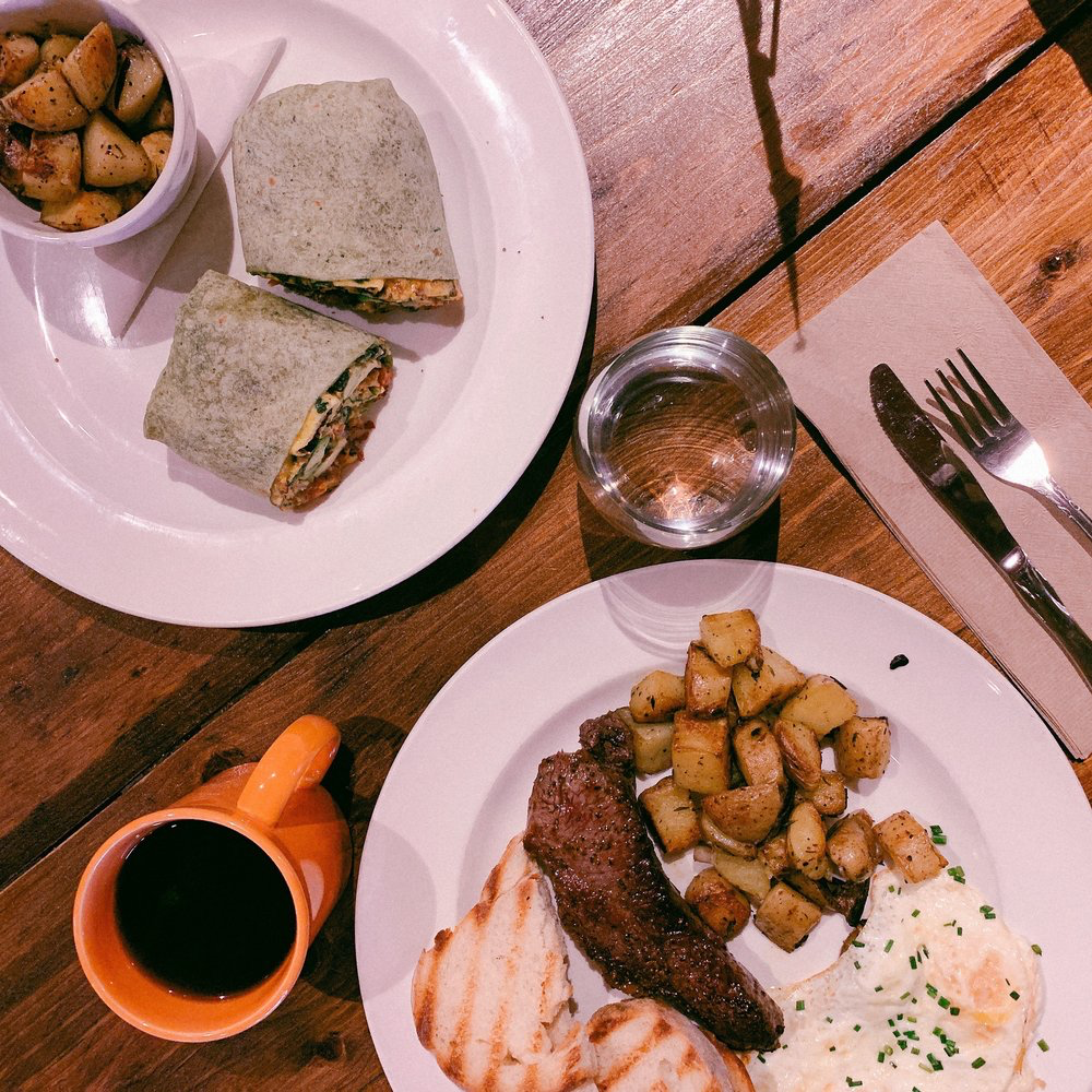 photo of breakfast items and a cup of coffee on a wooden table