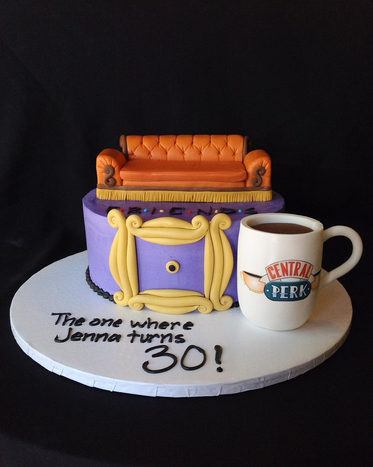 TV show Friends birthday cake with a cup of central perk coffee