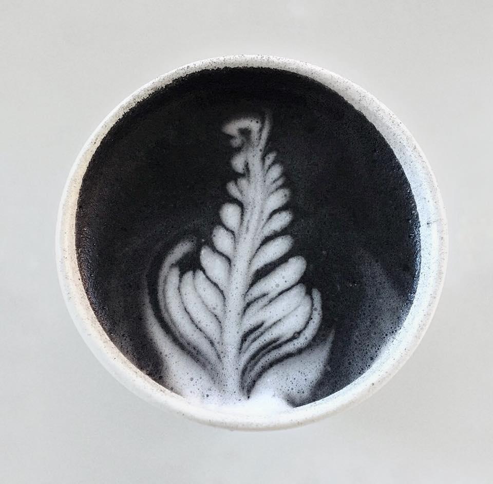 MMELO's famous Charcoal Honey Lavender Latte