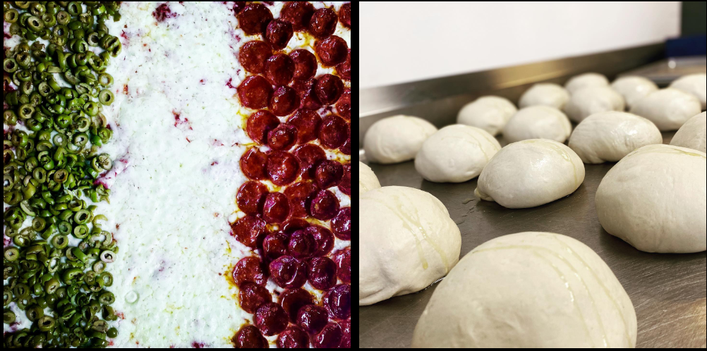 Ingredients and balls of unformed dough