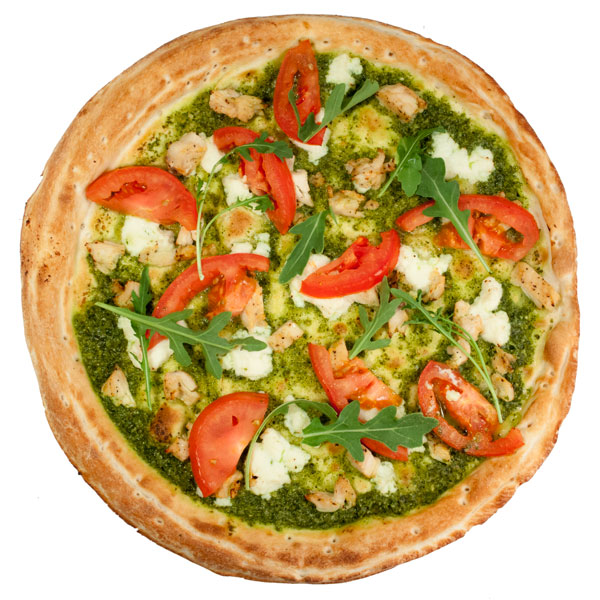 Pesto and tomato pizza