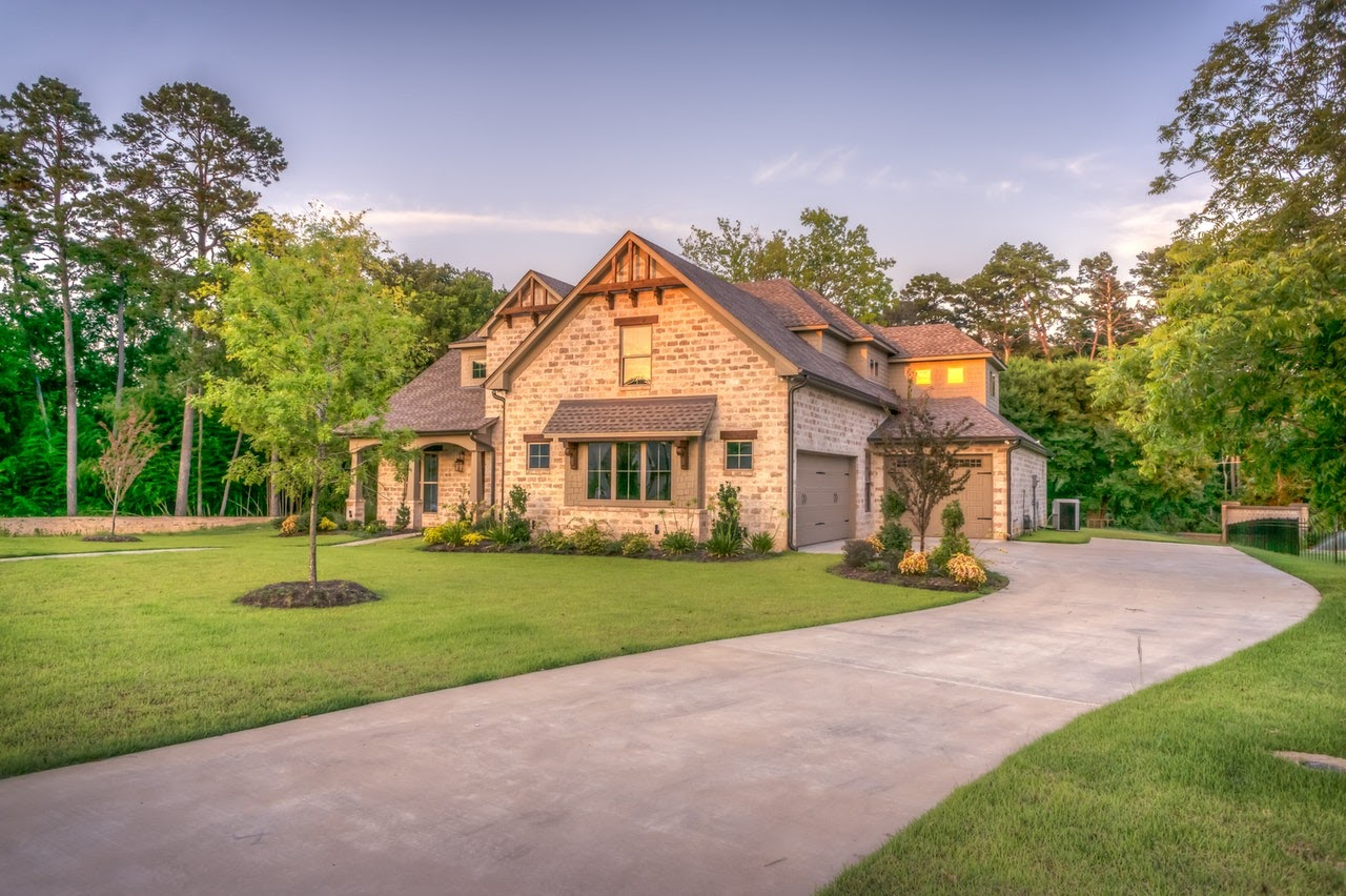 A big house on a driveway