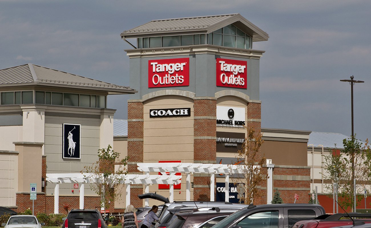 Tanger Outlets with stores like coach, Michael kors, and Polo