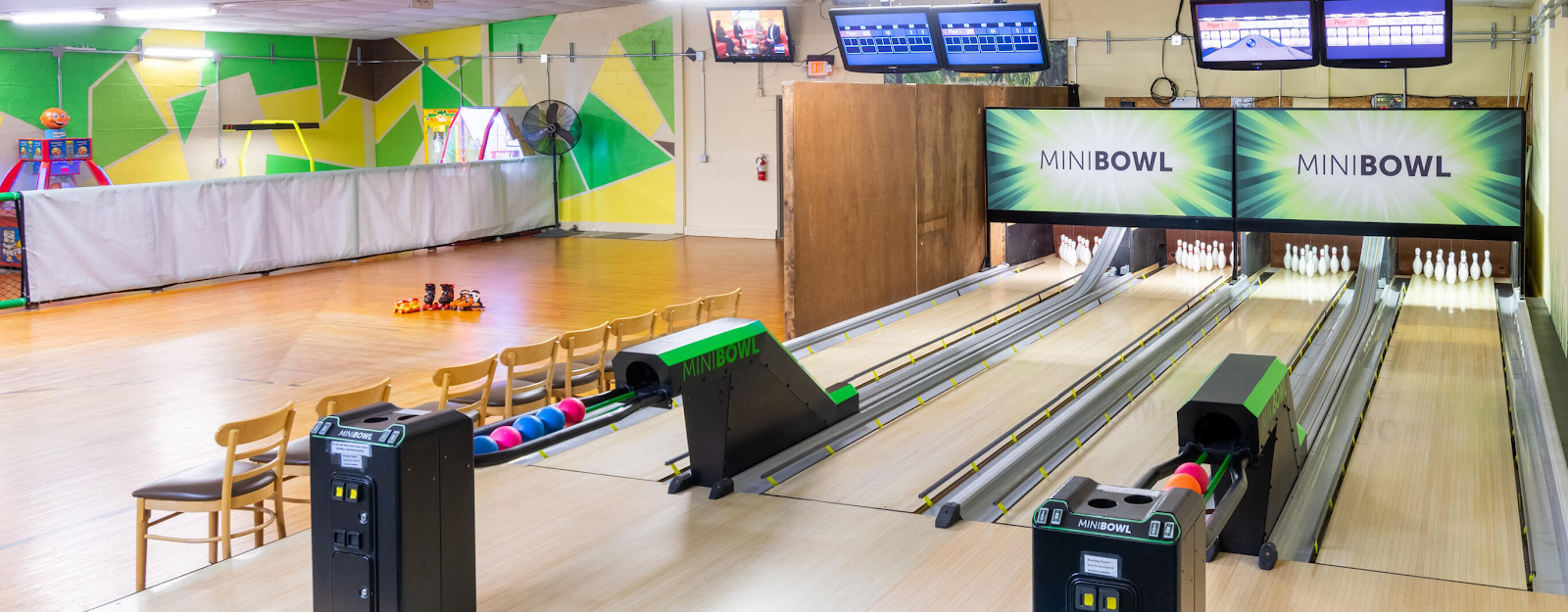 mini bowling area at fun in the jungle