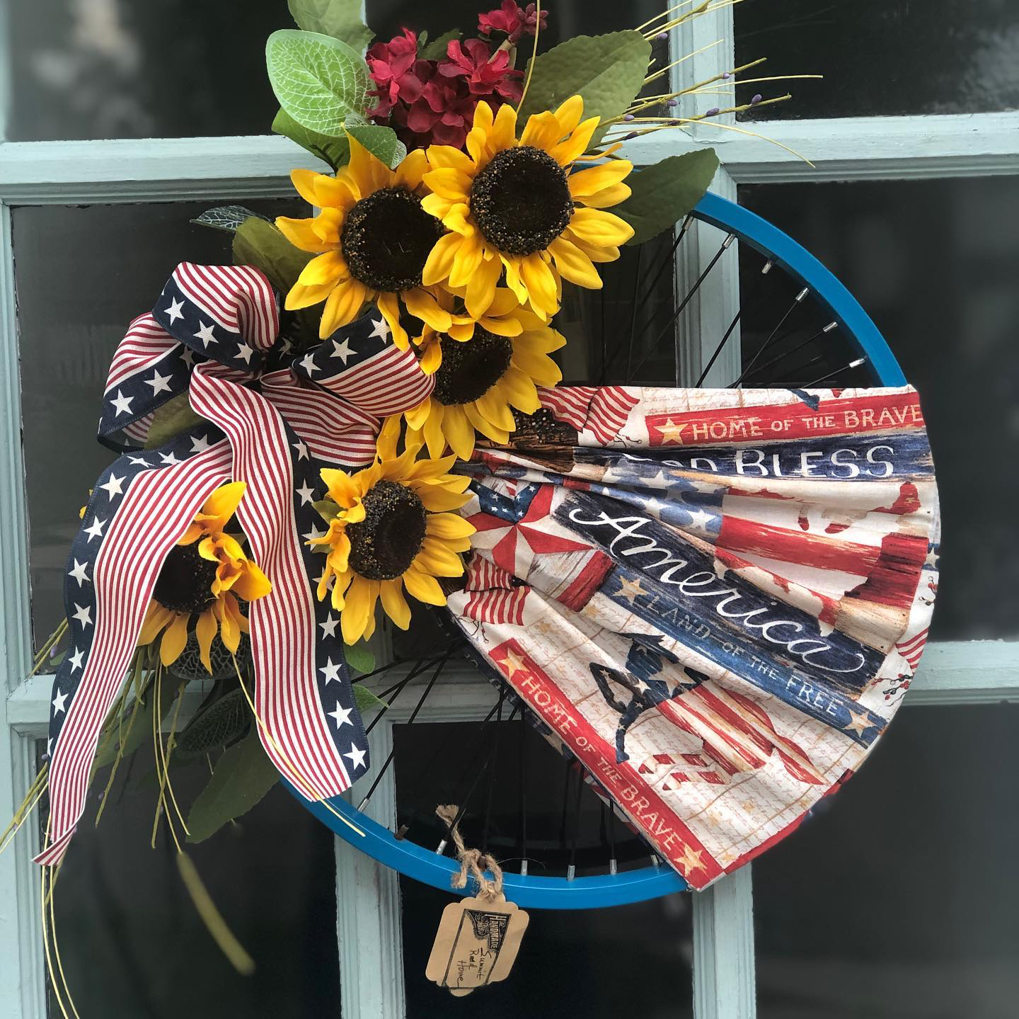 handmade wreath with flowers and America fabric