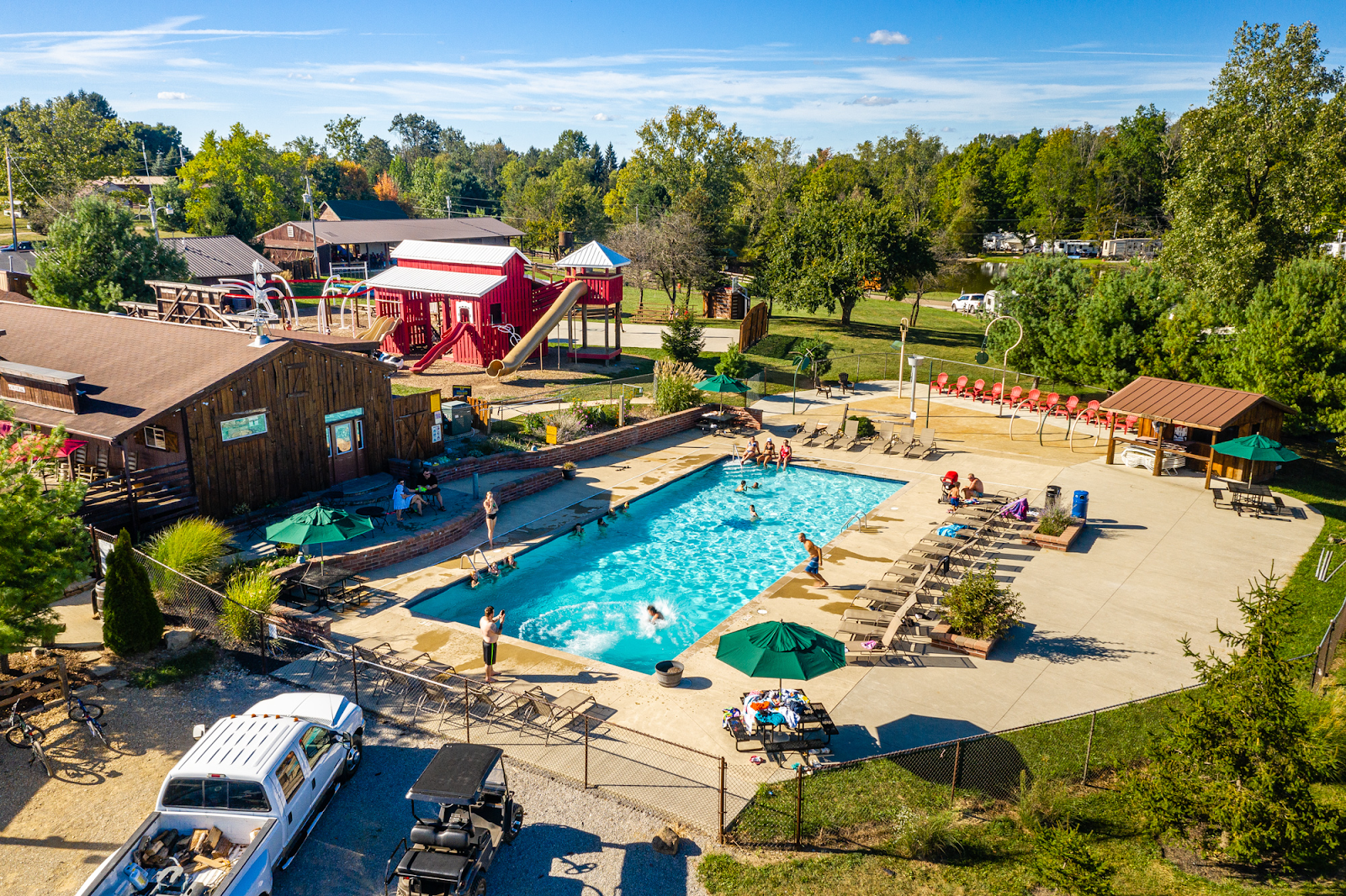 aerial view of the pool of the KOA campground