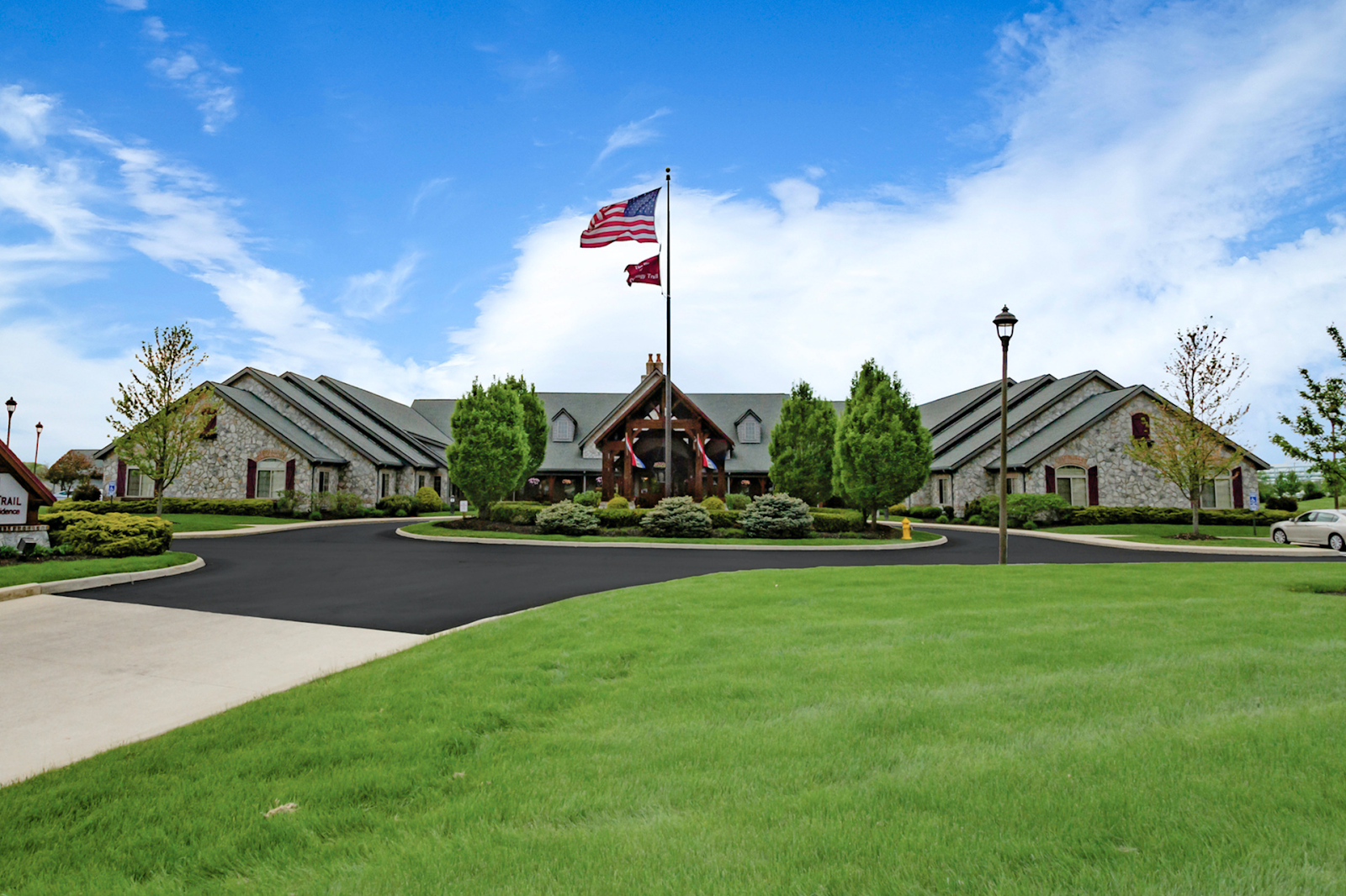 courtyard of an assisted living facility in sunbury