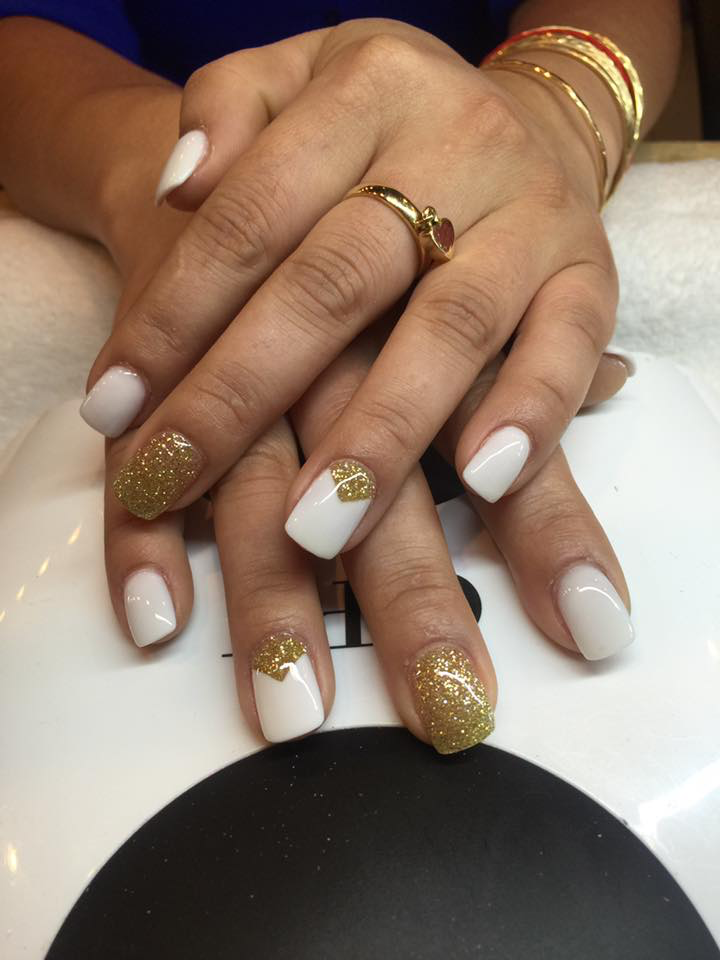 white and gold manicure from J & F Nail Salon