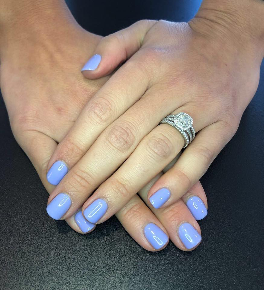 blue manicure from the natural nail spa