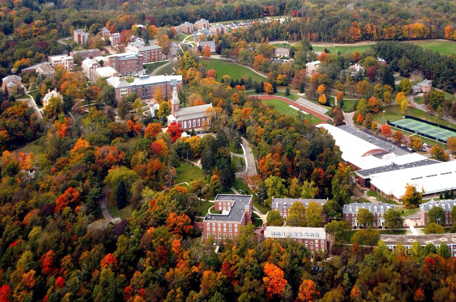 aerial view of Denison University