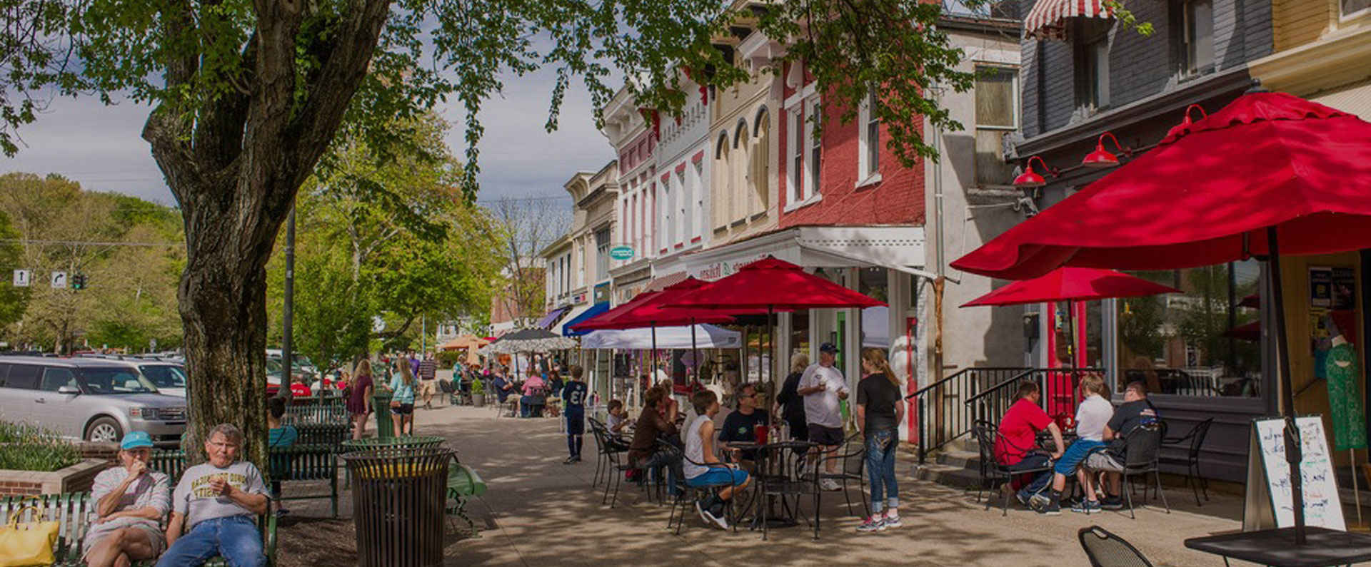 people spending time at an outdoor cafe in granville ohio