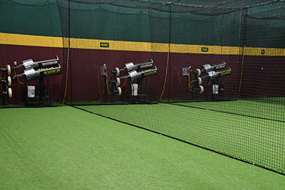 view of the pitching machines indoors