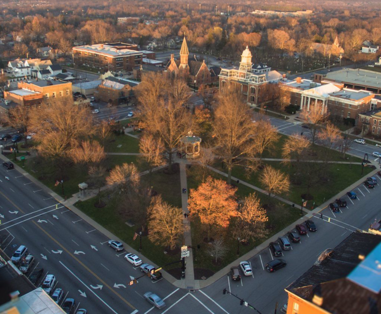 an overhead view of medina ohio in the fall