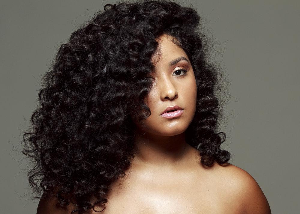 Luscious Black Curls on Natural Hair