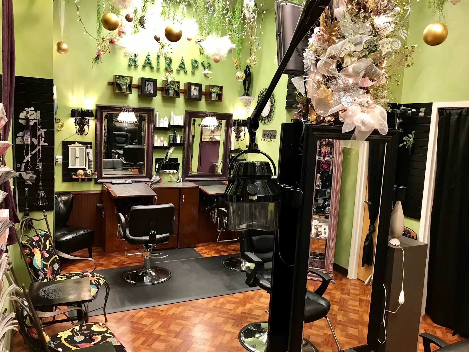 Bright green hair studio at Hairapy Hair Studio.