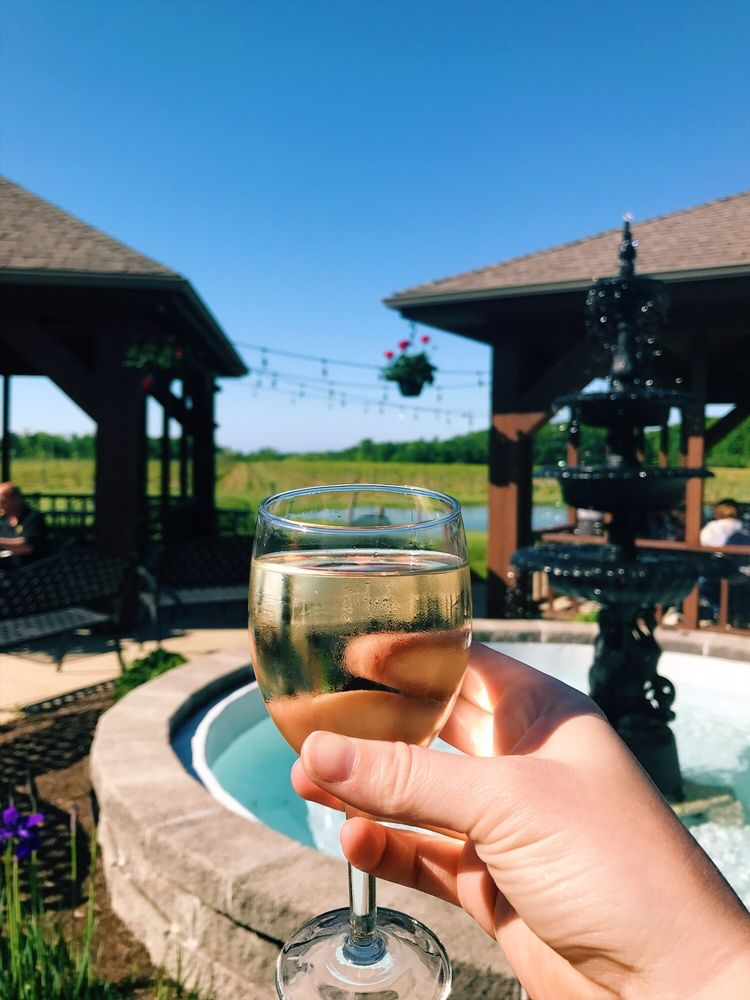 glass of white wine being held outdoors