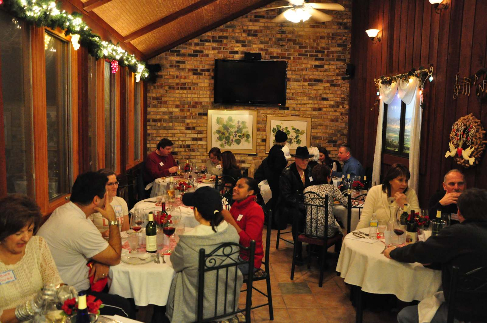 people eating and drinking inside at Wyandotte Winery