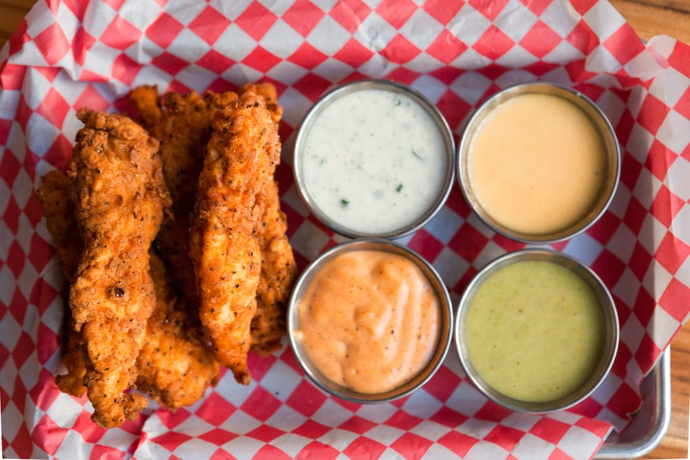 Juicy Fried Chicken Tenders With Assorted Sauces