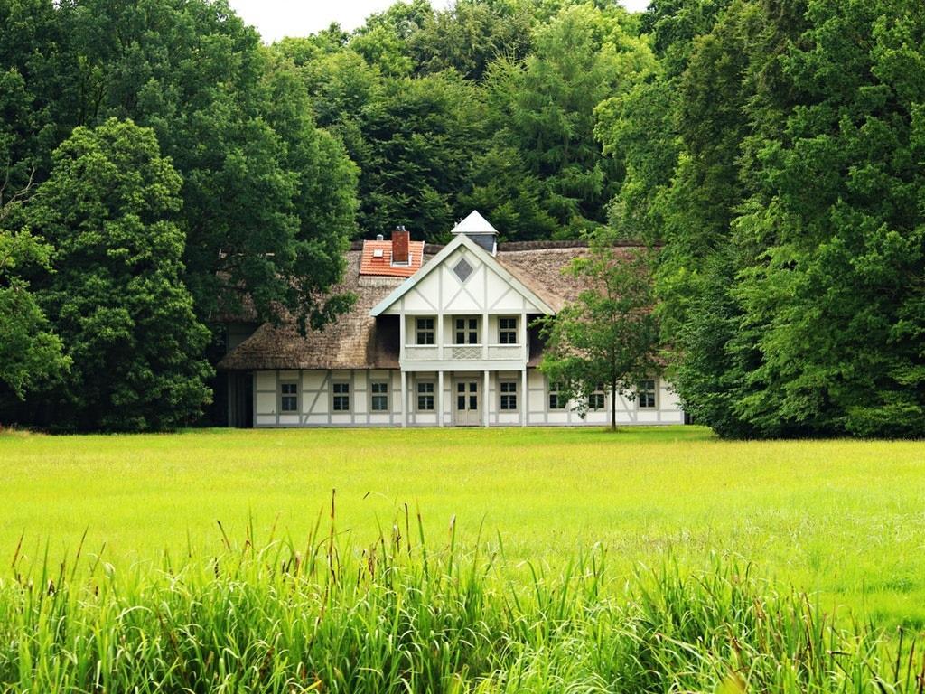a home in a grassy green field