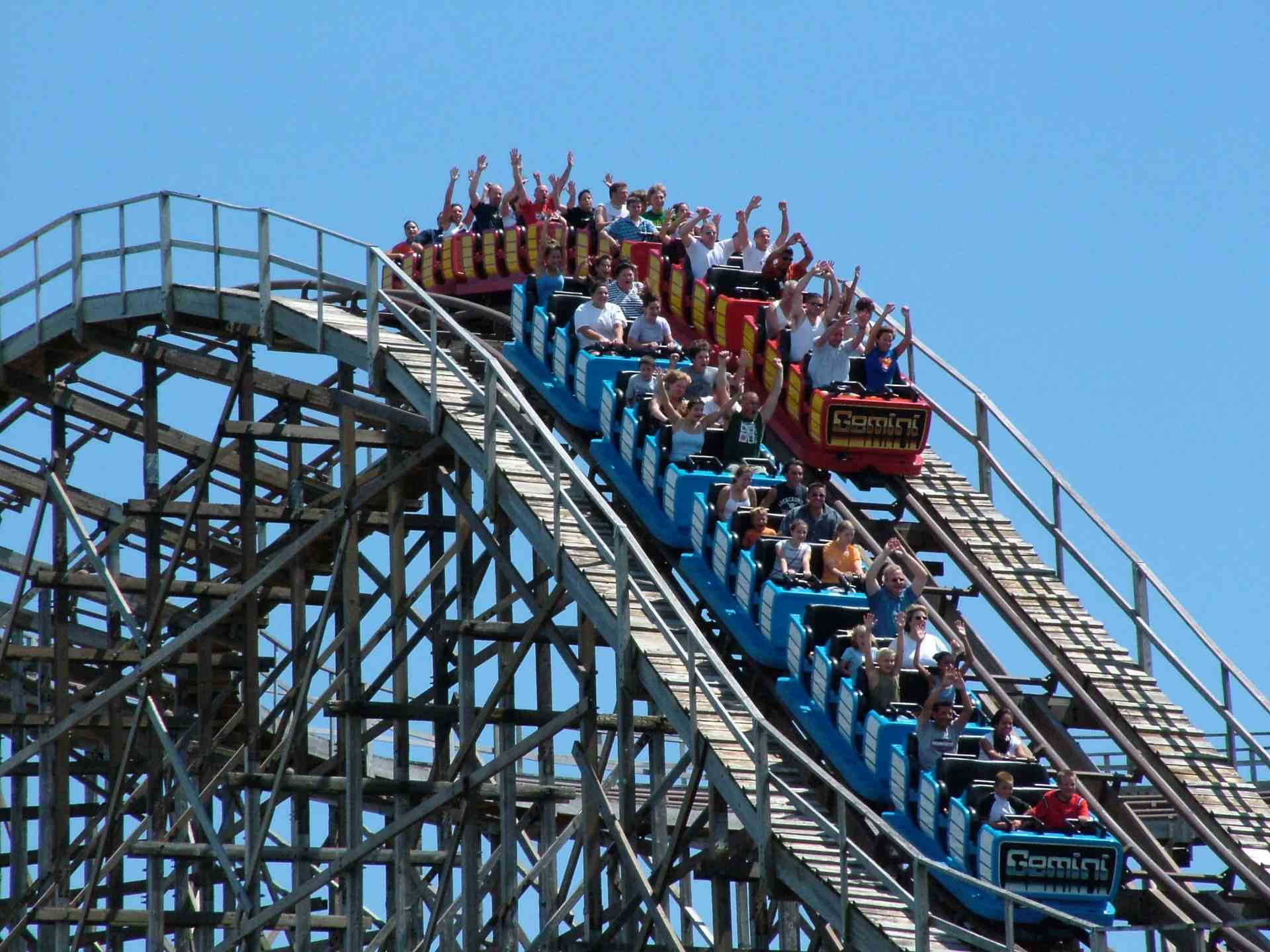 People riding the Gemini Roller Coaster at Cedar Point