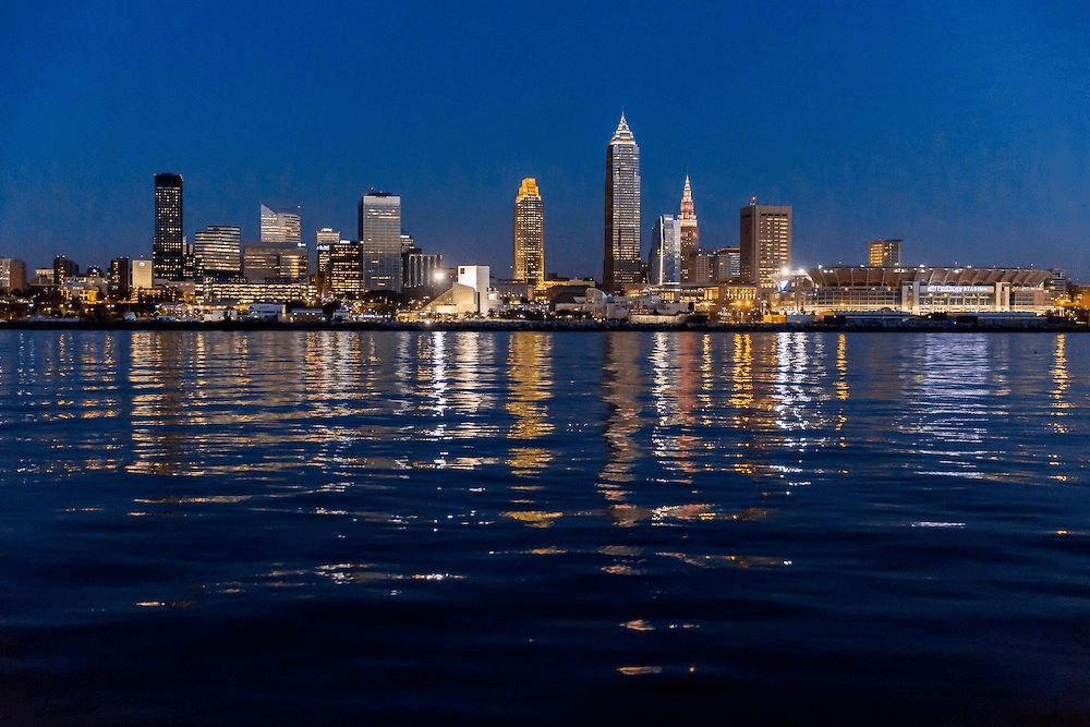 night cityscape of Cleveland Ohio