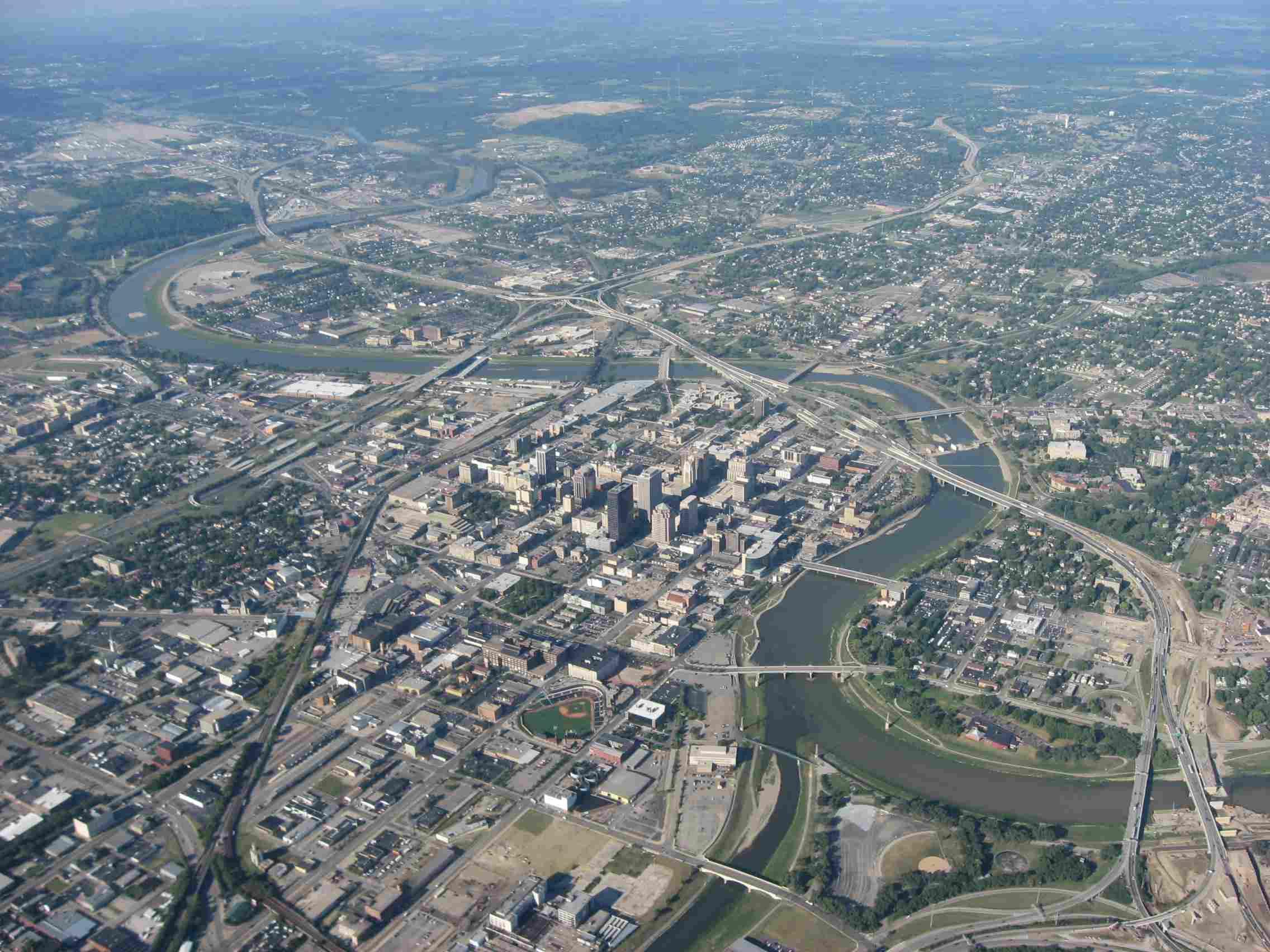 Downtown Dayton Ohio Aerial shot