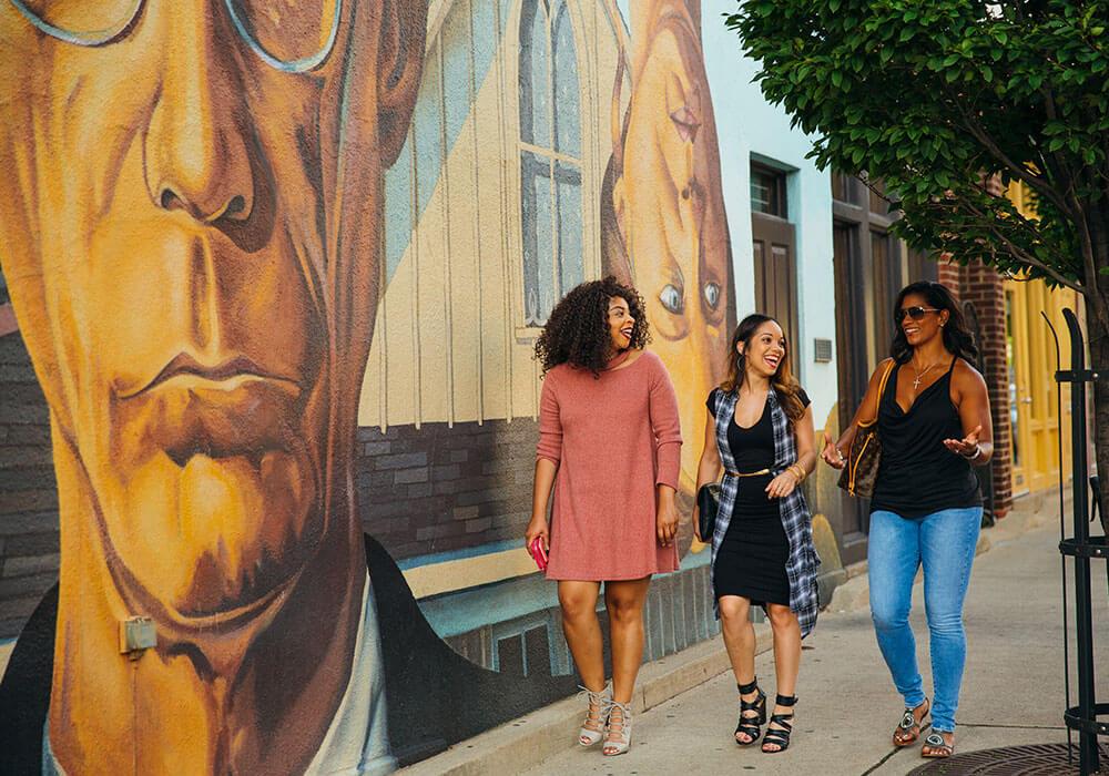 girls walking down street