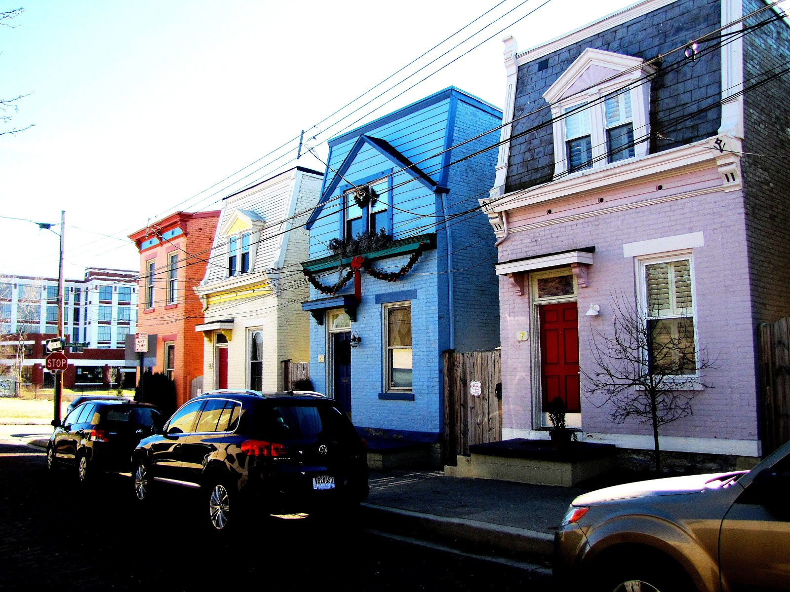 colored houses along a street