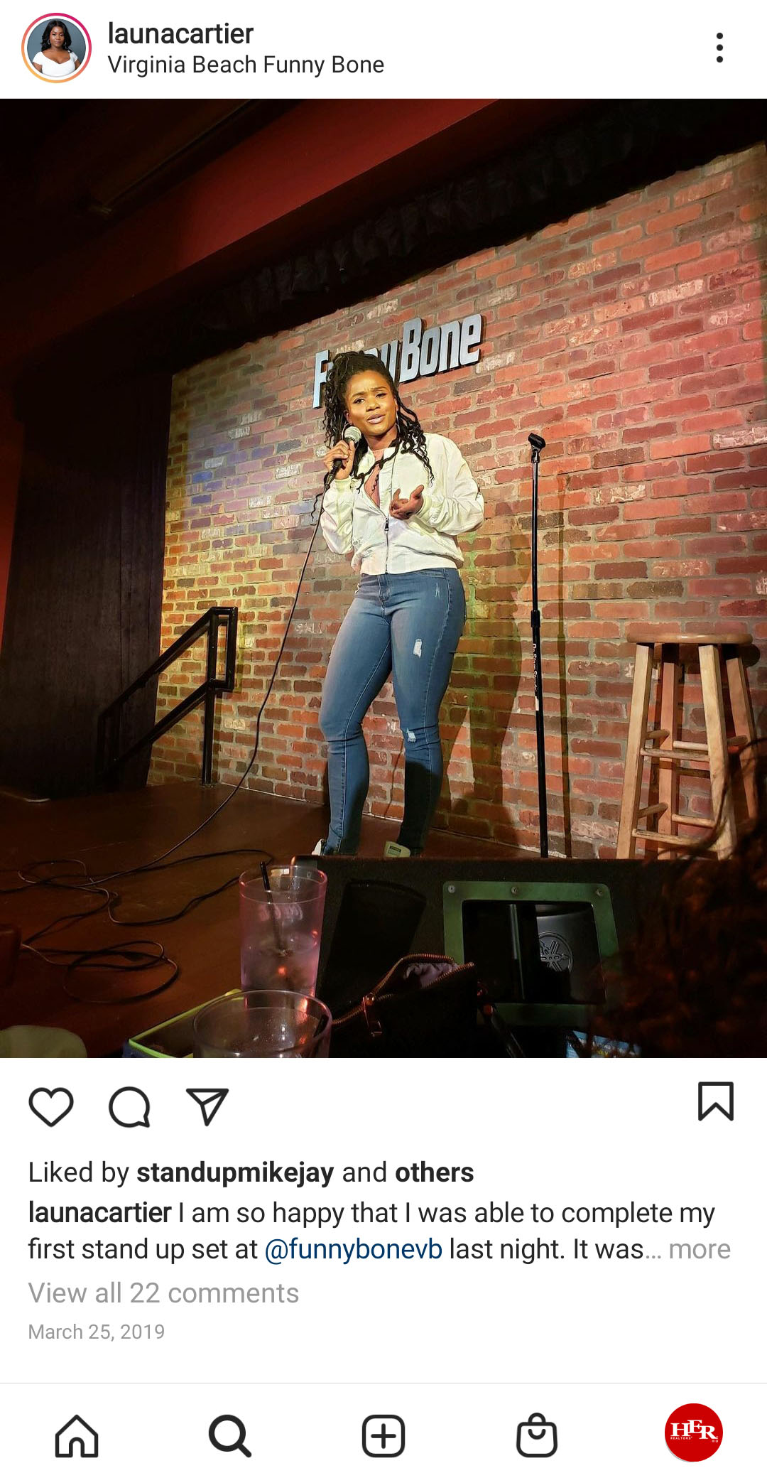 Woman doing stand up comedy