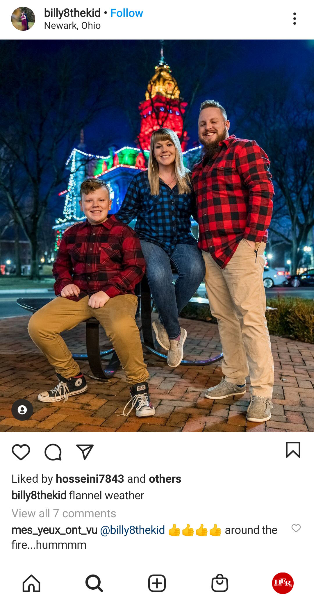 family wearing flanel