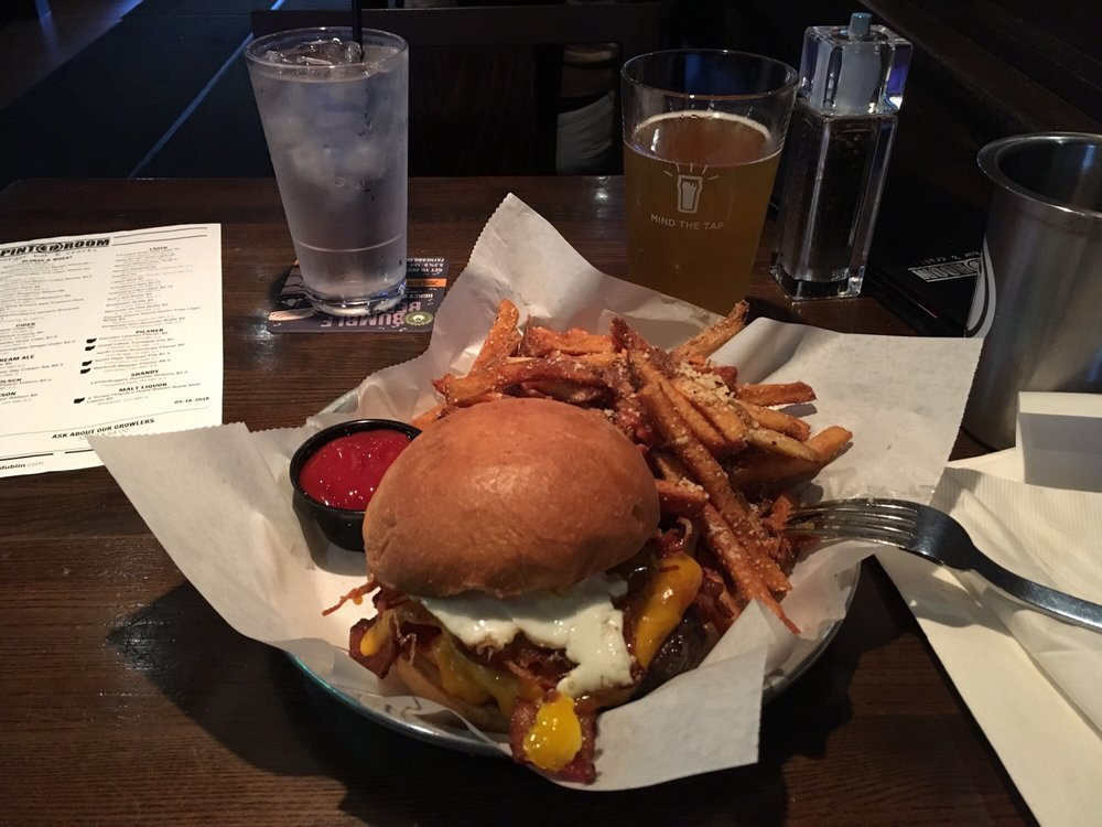 An image showing The Pint Room's most popular dish titled the 'Hangover Burger.'