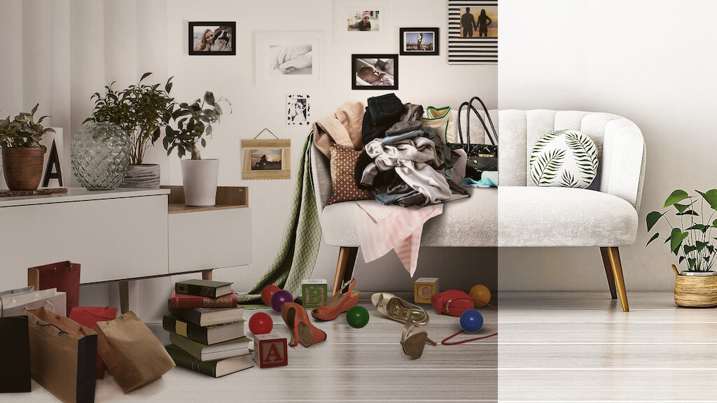 A picture of a living room featuring a couch at the center. The image is split down the middle. On the right side the room is cluttered and messy. On the left the room is clean and done in the Minimalist style.