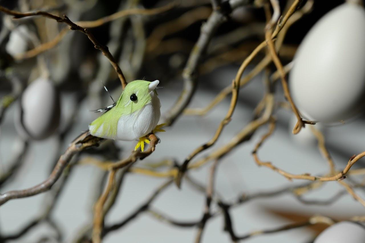 A fake decor bird sits on a tree.