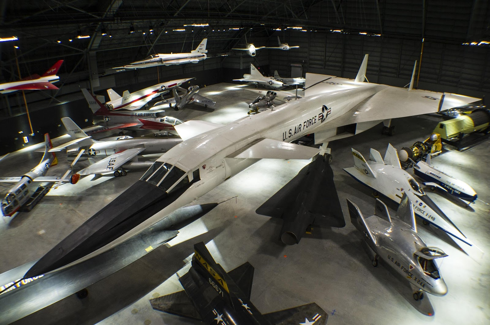 displays of various different aircraft at the National Museum of the US Air Force
