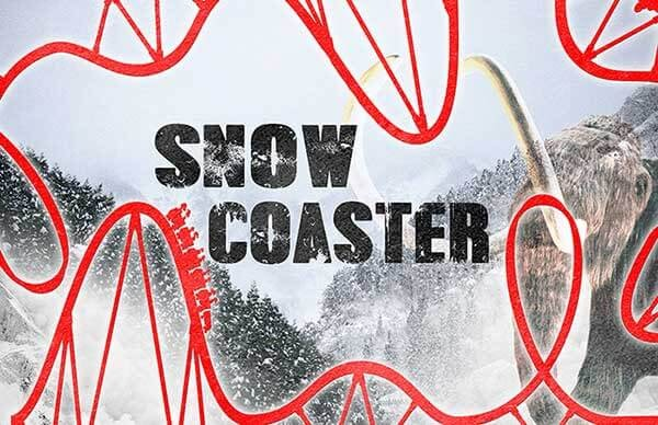 Snow Coaster poster showing a rollercoaster illustration and a mammoth