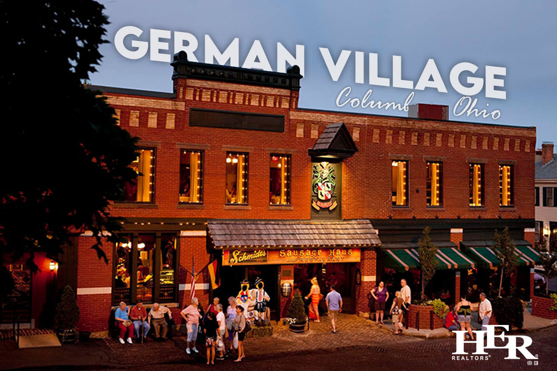 storefronts in german village at sunset