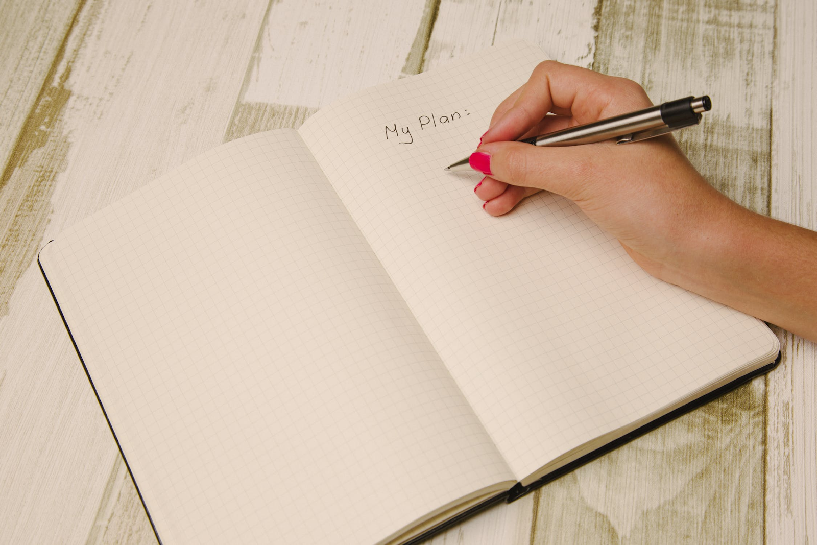 """hand writing """"my plan"""" in a journal"""