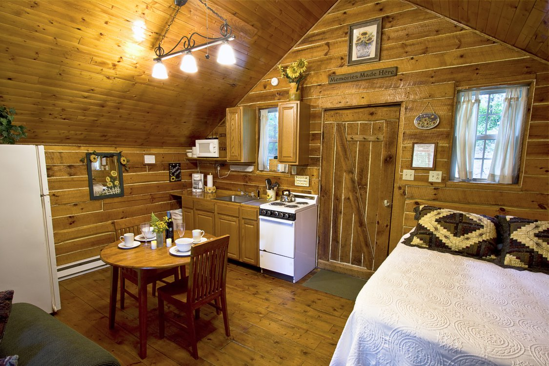 interior of cabin with a bed, small kitchen, and small round dining table
