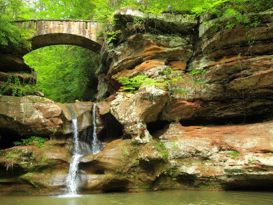 bridge over rocks and waterfall at Cedar Falls