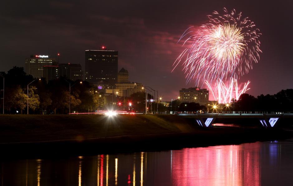 fireworks in Dayton at night
