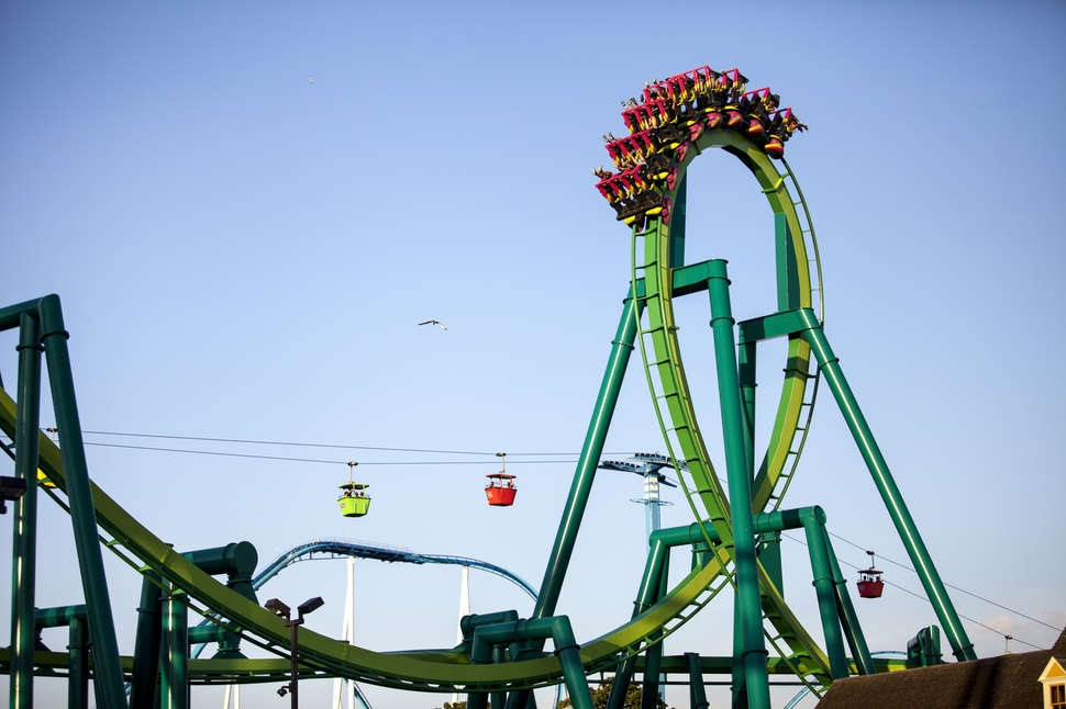 loop on green roller coaster