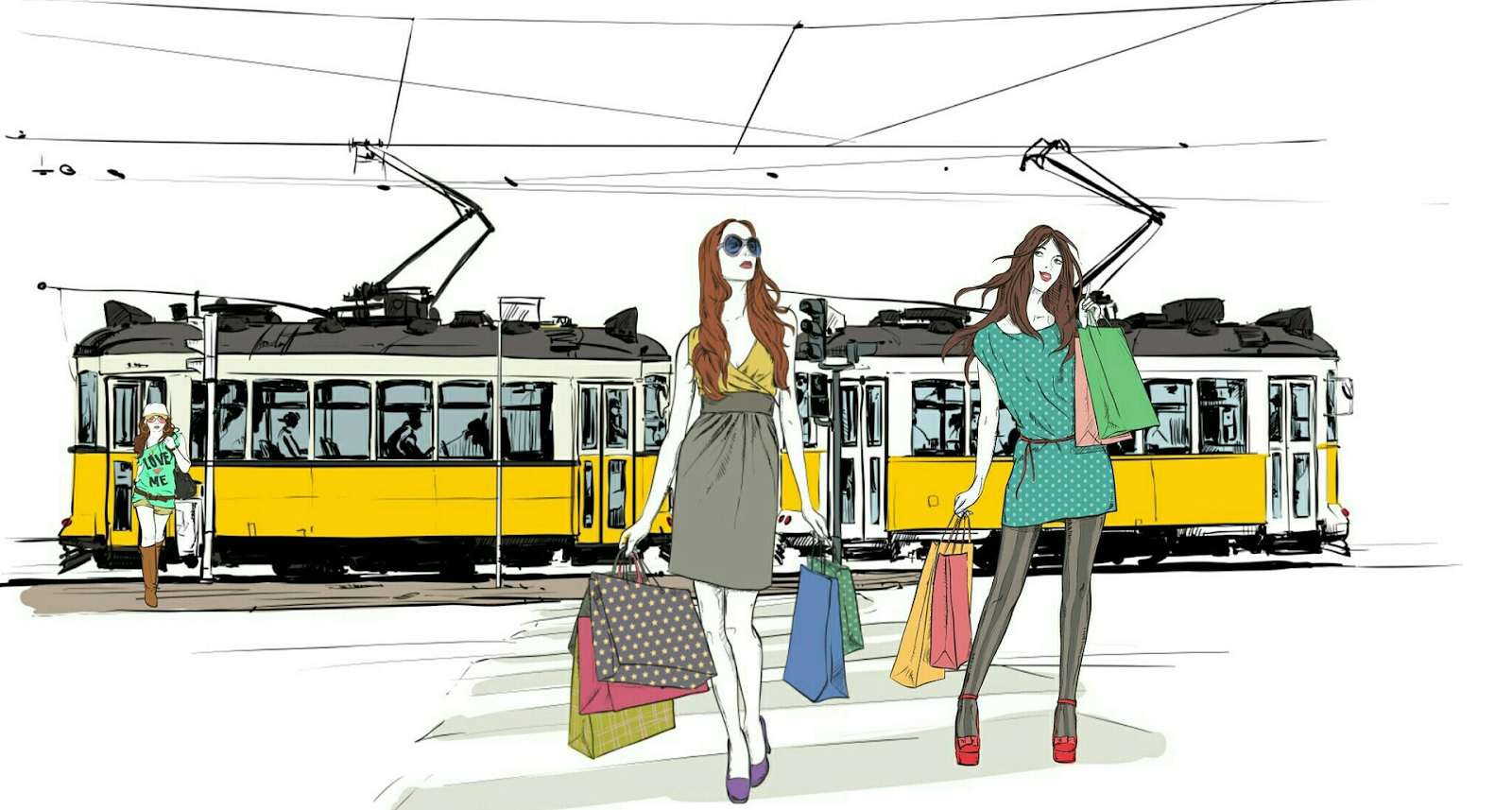 colorful sketch of two women with shopping bags standing in front of train