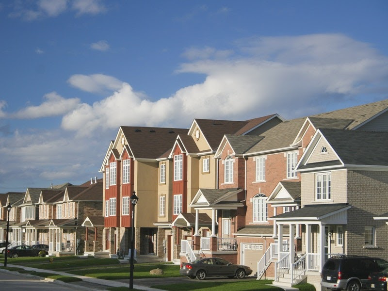 town homes with blue sky