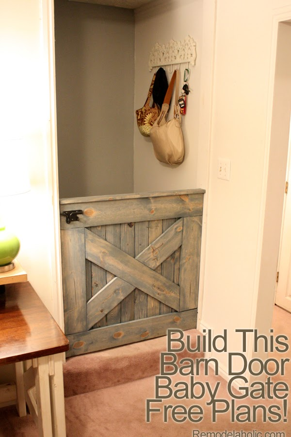 A half wall height barn door gate serves as stylish toddler protection.