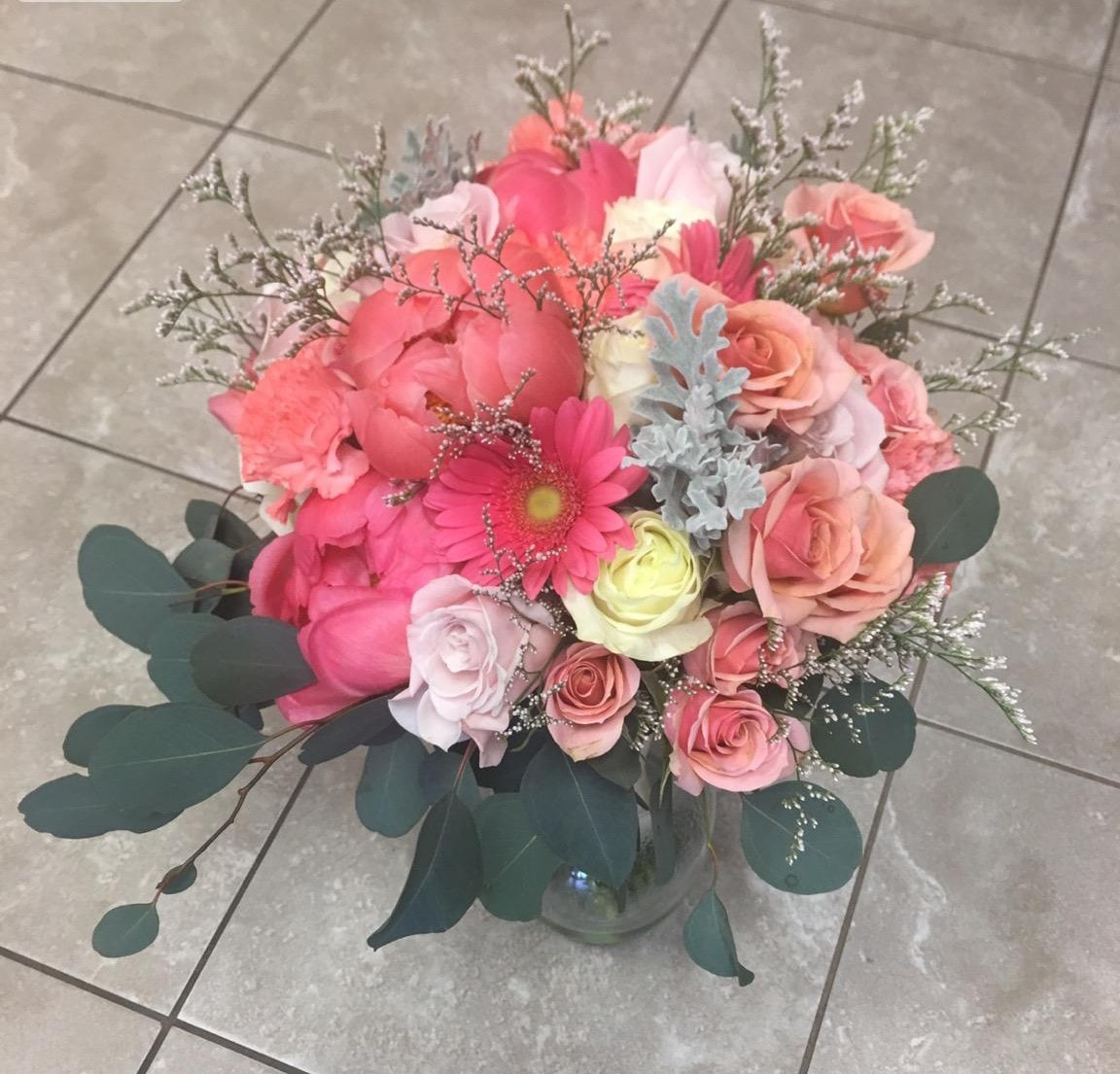 An image of a dazzling pink bouquet made at Reno's Floral.