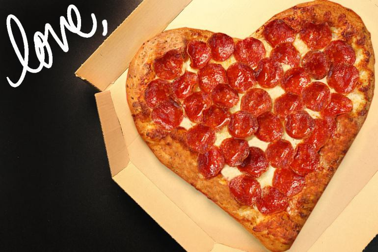 An image of the Valentine's day special available at PJay's pizza.