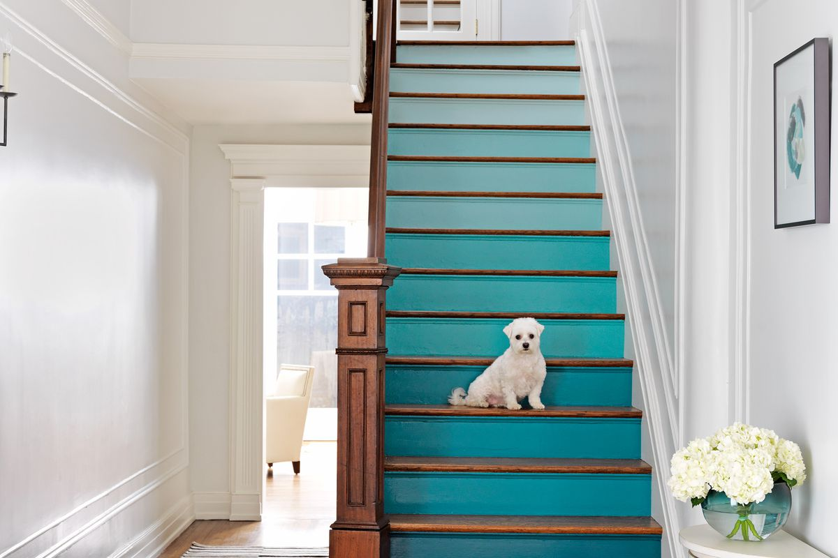An image showing painted staircase risers.