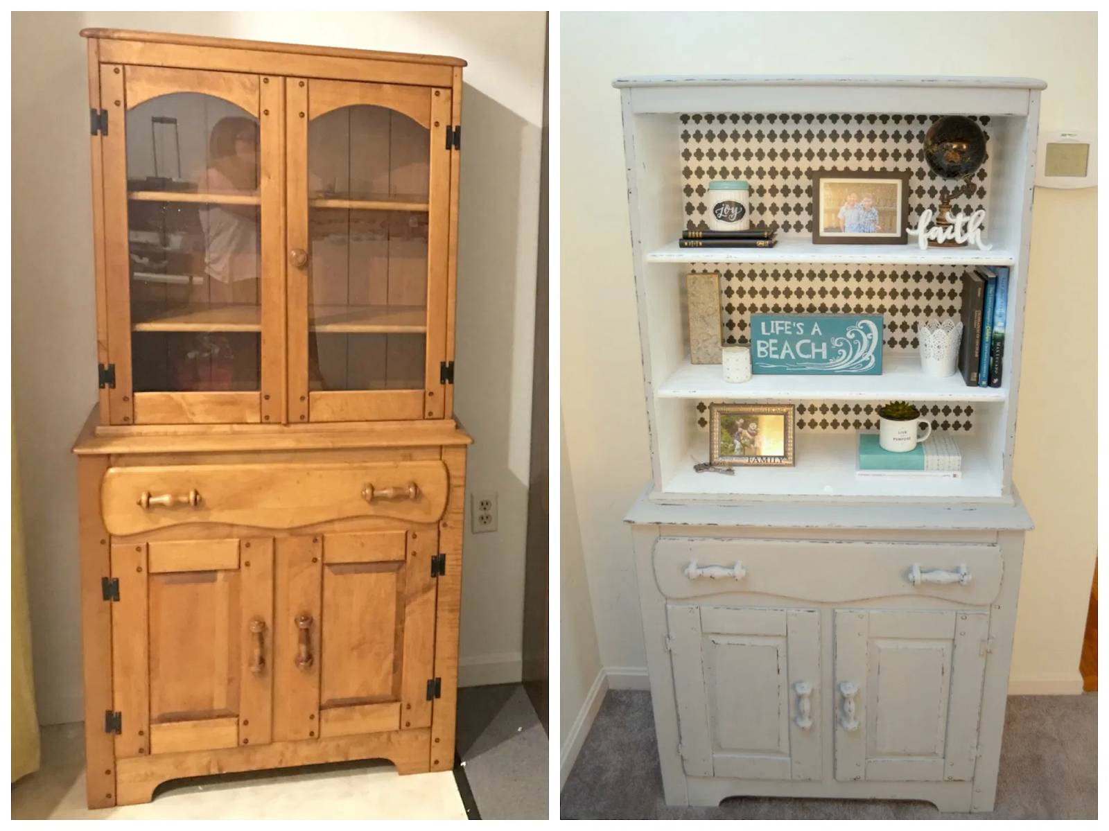 An image showing a dated piece of furniture's makeover.