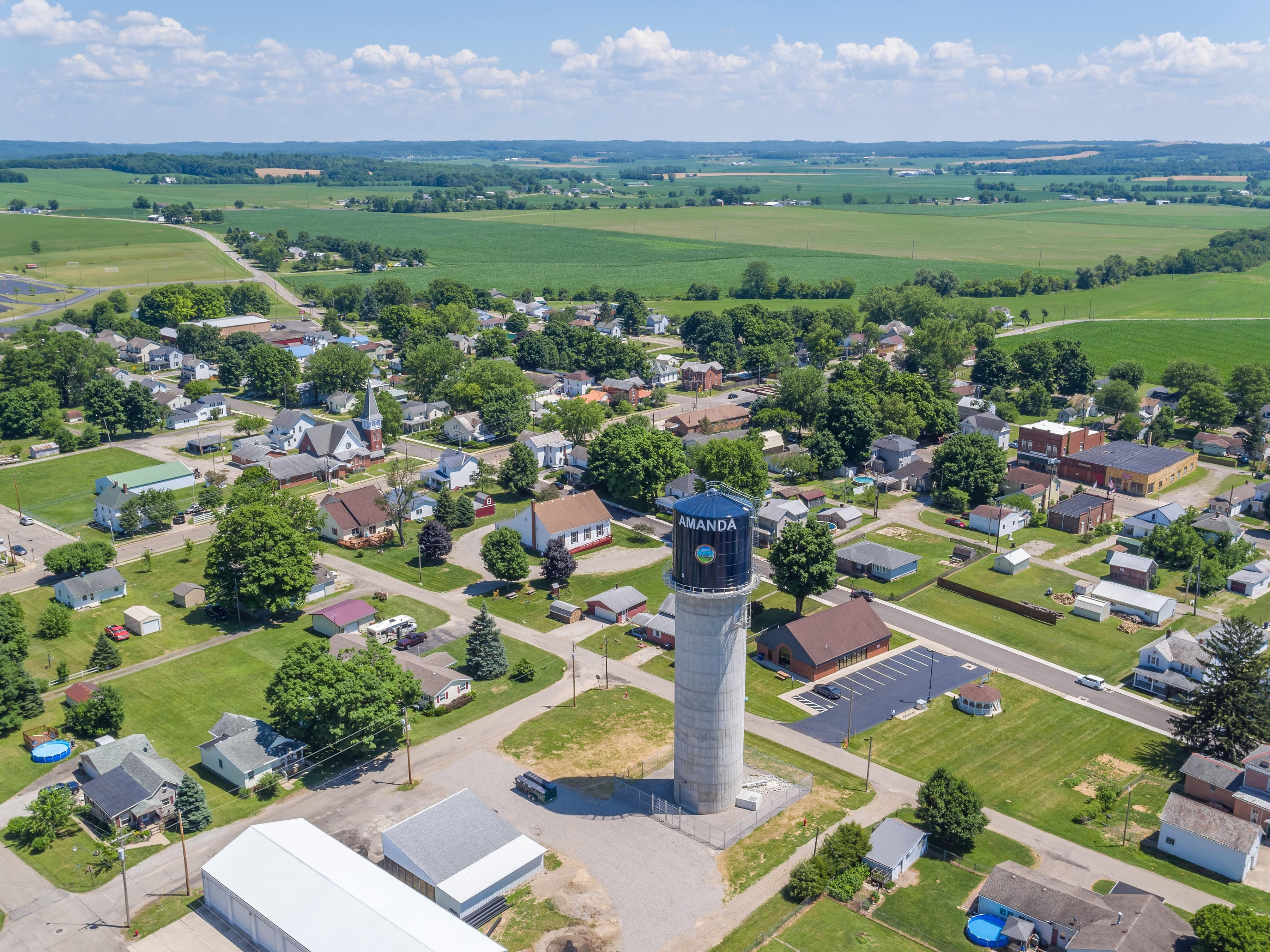 Beautiful drone perspective of the town of Amanda, Ohio